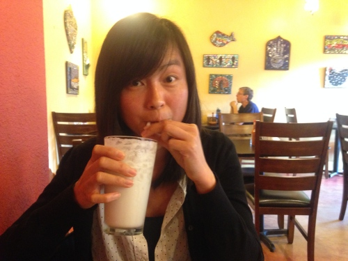 Enjoying a coconut horchata at Viva Mexicana!